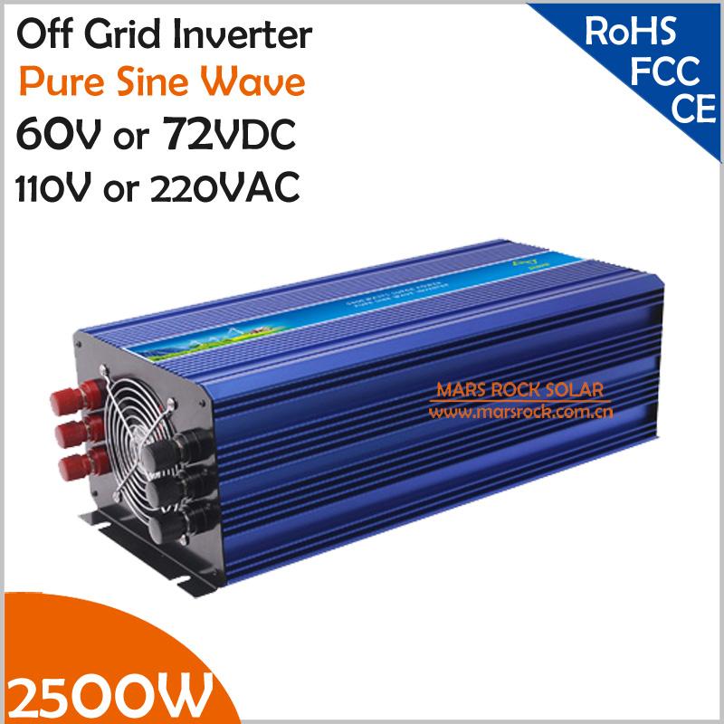 2500W 60V/72VDC 100/110/120VAC or 220/230/240VAC Pure Sine Wave PV Inverter Off Grid Solar& Wind Power Inverter PV Inverter(China (Mainland))