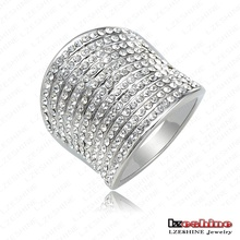 Top Fashion Punk-Pop Multi-layer Engagement Rings With 18K White Gold Plate & Czech Crystals Punk Jewelry Free Shipping Ri-HQ169