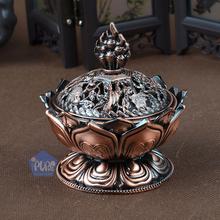 Tibetan Lotus Incense Burner Alloy Bronze Mini Incense Stove Decoration Metal Craft Unbreakable Living Room Office Copper Decor(China (Mainland))