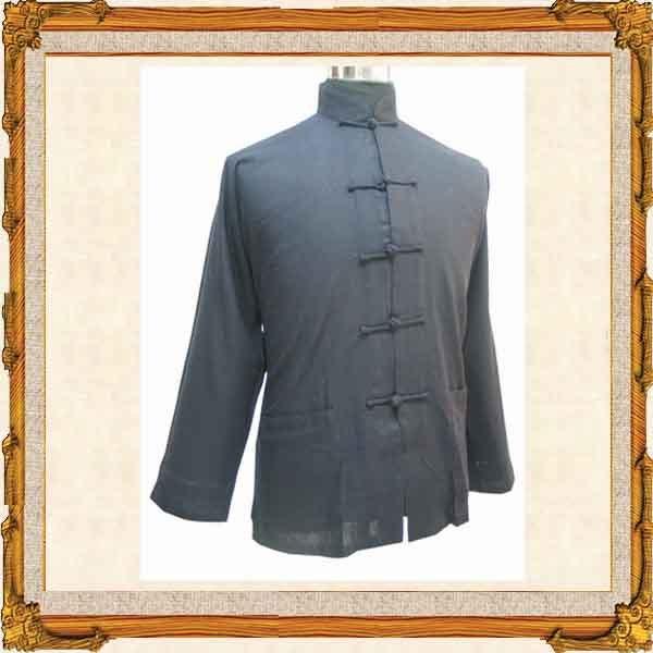 long sleeves black chinese style men garment
