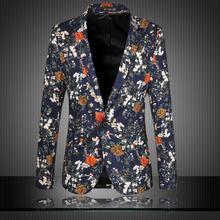 Blazer masculino men blazer slim fit 2015 suit men blazers flower pattern matching leisure jacket men suit  plus size 6XL HY430(China (Mainland))
