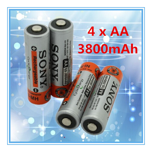 4pcs / Lot Brand New 0riginal 1.2V NiMh AA 3800 mAh Battery Rechargeable AA Batteries for sony pilas recargables toy battery(China (Mainland))