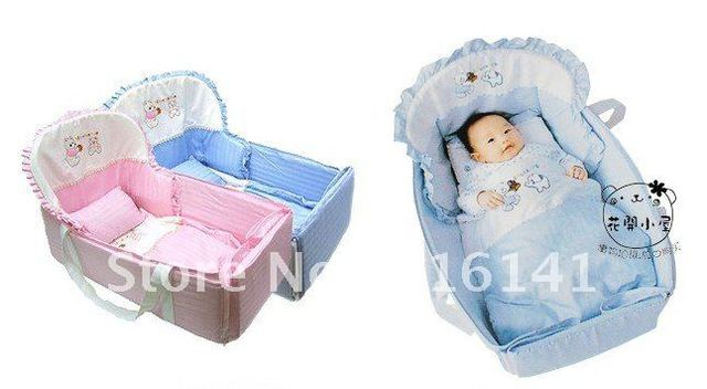 Multifunctional Baby Sleeping Bed /Portable crib folds small toys, small bed with a joystick~~Easy to Carry and Free shipping