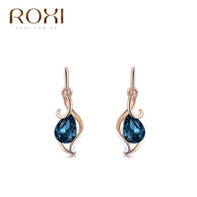 ROXI New Hot Rose gold Blue crystal earrdrop Delicate Large women Earrings,Gift to girlfriend, handmade fashionable Earrings(China (Mainland))