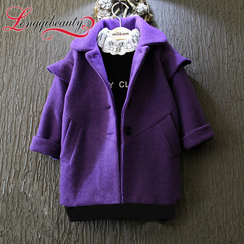 2015 New Autumn Winter Girls Children Korean Turn-down Collar Solid Outwear Coats Double Breasted Long Sleeve Jackets for Girls<br><br>Aliexpress