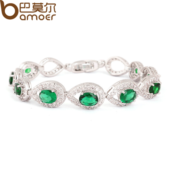Luxury Mysterious Emerald Color CZ Water Drop Connected Zircon Crystal Bracelet Women White Gold Plated Bamoer Jewelry YIB013<br><br>Aliexpress