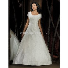 Nitree Short Sleeve A-line Ball Gown Princess Sweep Train Embroidery Empire Wedding Dresses Bridal Gown(China (Mainland))