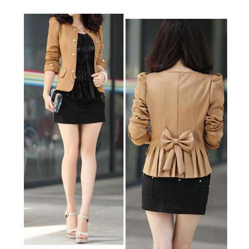 Womens Long Sleeve Slim Double-Breasted Puff Sleeve Suit Blazer Jacket Coat Solid Color Camel Black Size M L XL Free Shipping