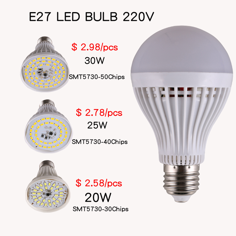 E27 E14 B22 LED lamps Bulb 4W 6W 9W 12W 15W 18W SMT5730 5 9 13 17 20 23 30 40 50LEDs AC220V 230V 240V 30w 20w led lights(China (Mainland))