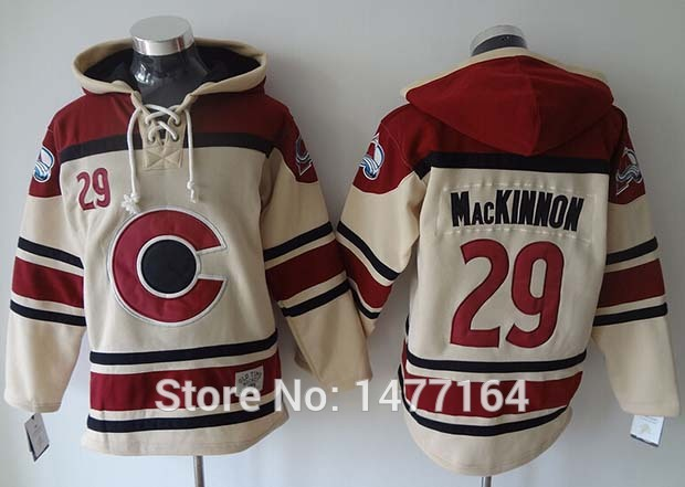 Colorado Avalanche #29 Nathan MacKinnon Hoodie Cream 100% Stitched Mens Ice Hockey Hooded Sweatshirt New Arrival