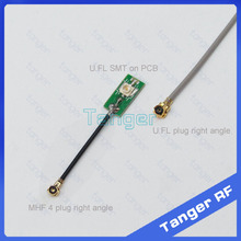 Tanger IPX IPEX U.FL female socket SMT on PCB to MHF4 plug right angle 0.81mm RF Coaxial Jumper cable 8cm 3inch for Wifi Router(China (Mainland))