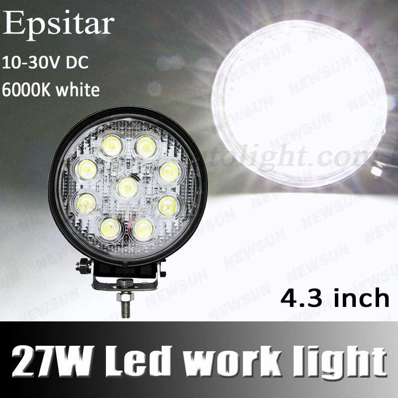LED Work Light 4 inch Inch 27W 12V 24V Spot Flood Lamp Motorcycle Tractor Truck Trailer SUV roads Boat 4WD 4x4 - NEWM Autolight Store store