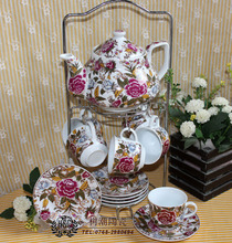 Free shipping, Embossed flower tea set cup and saucer pot hoaxed lid 1 triangle set home crafts