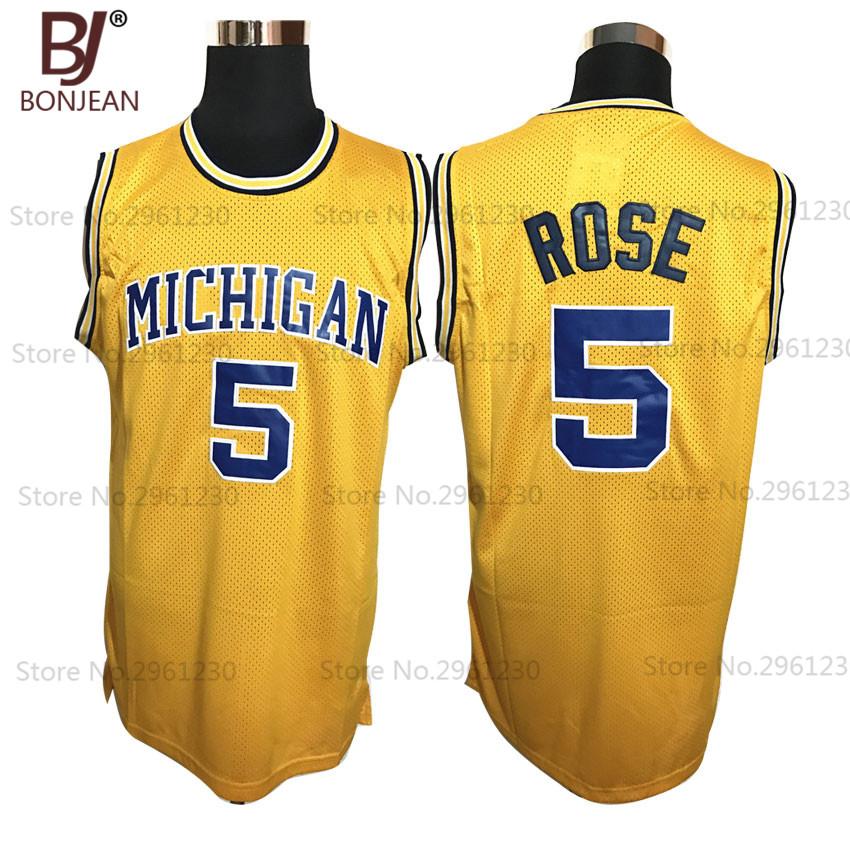 BONJEAN Mens Michigan State Wolverines College 5 Jalen Rose Basketball Jersey Throwback Yellow Vintage Sewn Shirt(China (Mainland))