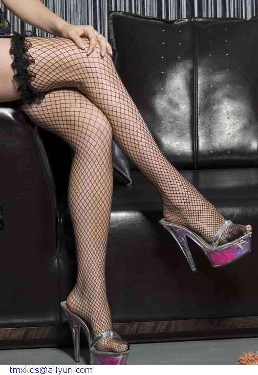Fashion Women Hot sexy Black Red White Purple Fish Net stockings thigh highs With Lace meias knee socks LC7916 Free Shipping(China (Mainland))
