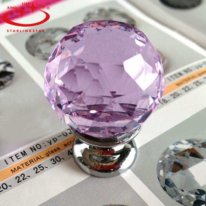 Modern Style Crystal Ball Handle H5091D Purple Furniture Shake Handshandle Wardrobe Drawer Cupboard Wine Cabinet Hand Grip Knob(China (Mainland))