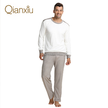 Qianxiu Brand Pajamas  Men Sleepwear Casual  Long Sleeve Pajama Set Men Sleep Bottoms Free Shipping(China (Mainland))