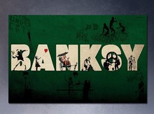 Free shipment Banksy's artworks Wall Decal hand painted on canvas vinyl street art graffiti bedroom kitchen B-215(China (Mainland))