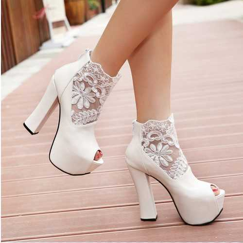 Sexy Open toe Lace Cutout Ankle Boots Summer Boots 2015 Hoof Red Bottoms High Heels Shoes Platform Boots Women Boots Shoes Woman(China (Mainland))
