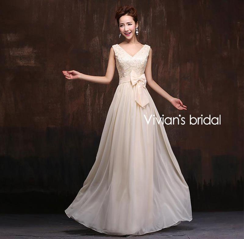 Vivian s Bridal Hot Sale 2015 Fashionable Six Styles Champagne Chiffon Bridesmaid Dresses Summer Dresses vestido