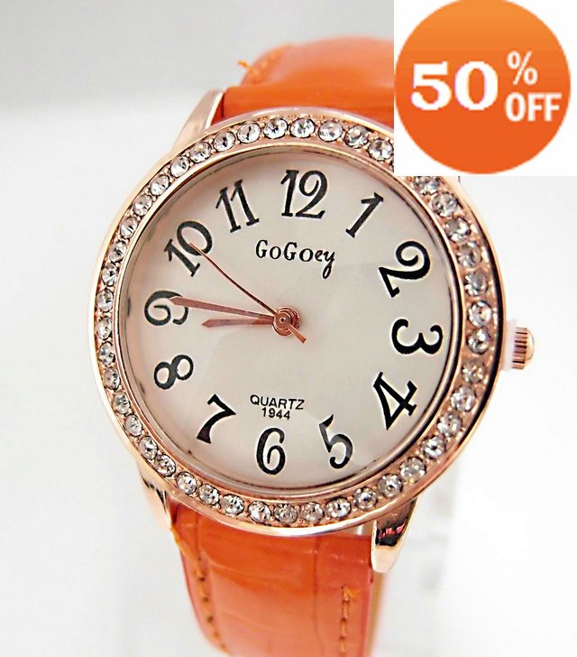 Christmas gift sale 6 colors wholesale Leather Crystal fashion Wrist quartz Watch ladies Women dress watch woman GO020(China (Mainland))