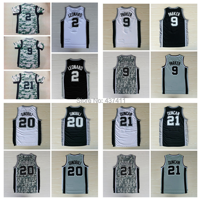 San Antonio 2 Kawhi Leonard 9 Tony Parker 20 Manu Ginobili 21 Tim Duncan White Black Grey Camo Short Sleeves Basketball jersey(China (Mainland))