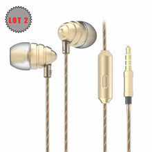 Lot 2 Earphones UiiSii US90 3.5mm Stereo Earbuds with Microphone HIFI for iPhone Samsung Nokia Xiaomi Huawei PC Computer Tablet