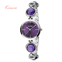2015 Luxury High Quality Brand KIMIO Quartz Bracelet Watches Women Stainless Steel Watch Woman Dresses Wristwatches Christmas