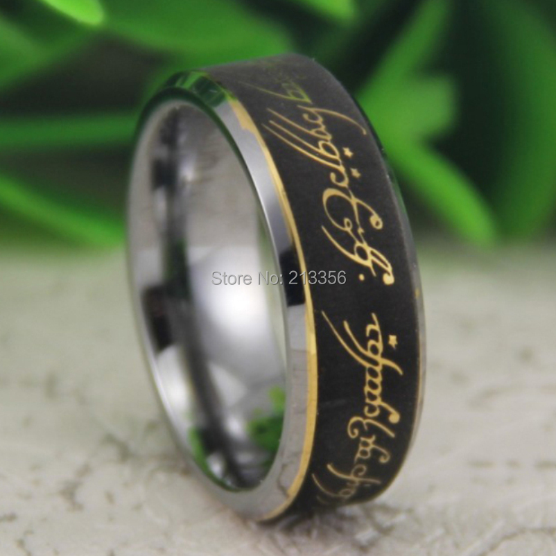Cheap Price Free Shipping USA Canada Hot Selling 8MM Bevel The Lord One Ring The LOTR Super Mens Fashion Tungsten Wedding Ring<br><br>Aliexpress