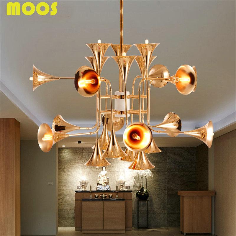 Nordic Creative Hotels Villa Sitting room bedroom Engineering Delightfull Design Horn Musical Instruments Pendant Light light(China (Mainland))