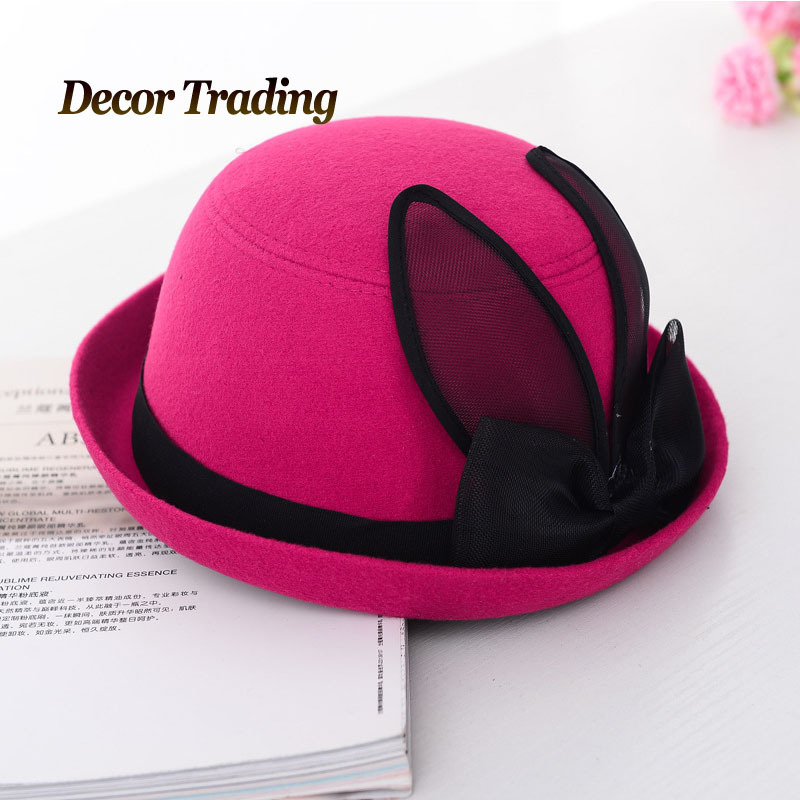 Free Shipping Ladies Fedoras Hat Retro Women Cloth Rabbit Ear Bowknow Fedora Cap Winter Warm Curling Brim Buckle Hat ZHENYUE10.2(China (Mainland))