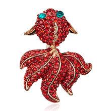 Klasik Merah Berlian Imitasi Ikan Lebah Bros Gecko Ikan Emas Hewan Pesta Pernikahan Perjamuan Pin Bros Aksesoris Wanita Hadiah(China)