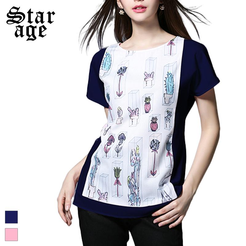 M-5XL Ladies Summer Contrast Colorful Flower Printed Shirts 2016 Plus Size Casual Tops Short Sleeve Women Fashion Blouses 3813(China (Mainland))
