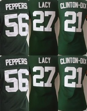 Mejor calidad # 21 Clinton-dix Jersey 56 peppers #27 Eddie Lacy jersey, mujeres camiseta Jersey Genuine, Size s - xxl,(China (Mainland))