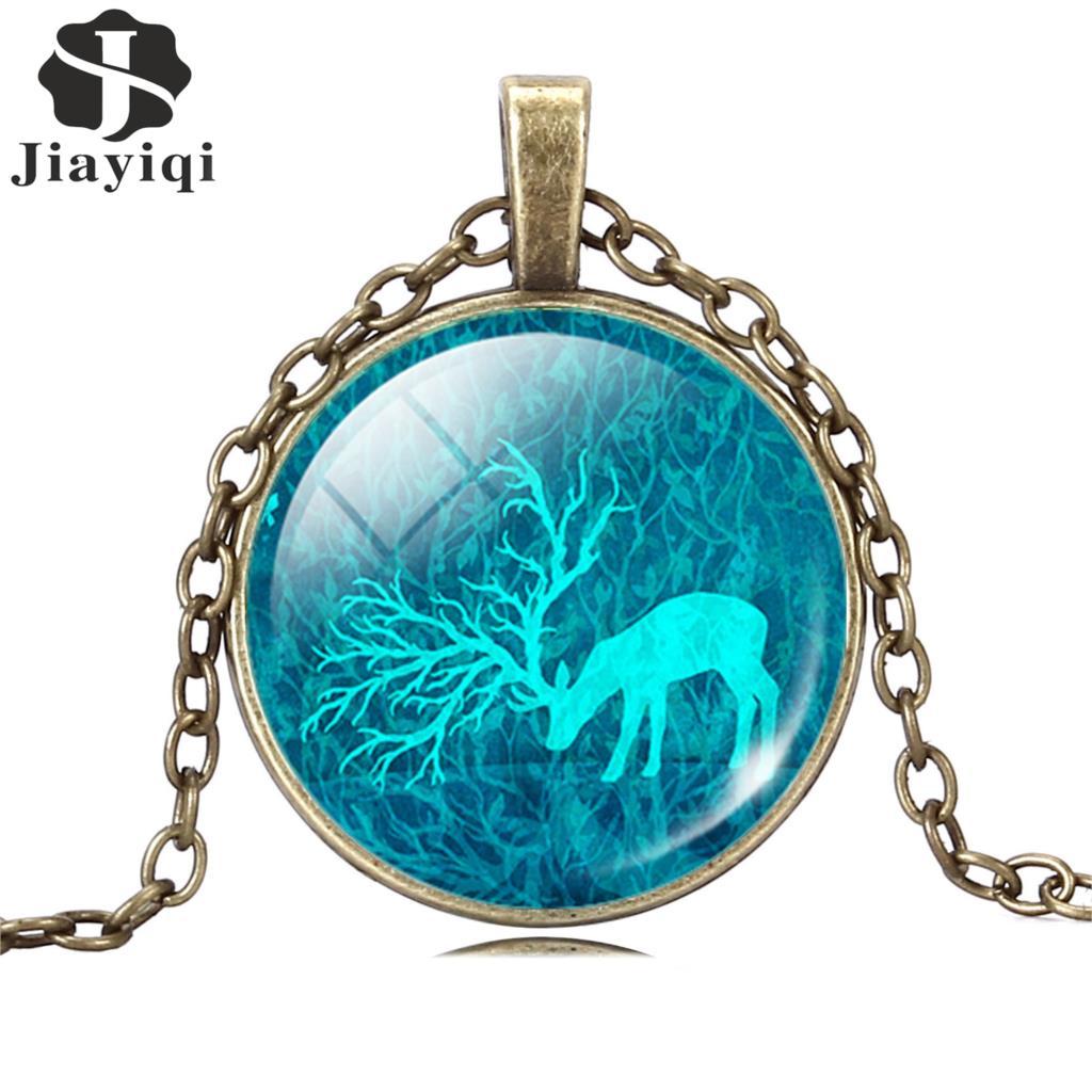 Мода олень ожерелье и кулон старинные бронзовые и серебряные украшения для женщин стекло кабошон себе ожерелье изысканные Jewlery