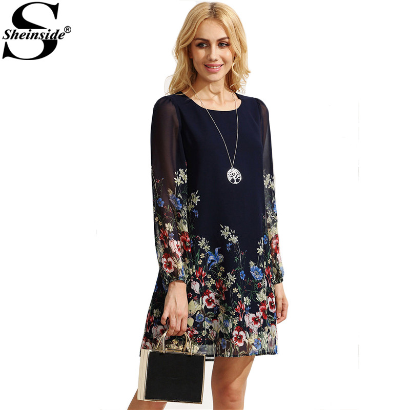 Sheinside Female Summer New Style Multicolor Floral Printed Long Sleeve Round Neck Chiffon Short Shift Dress(China (Mainland))