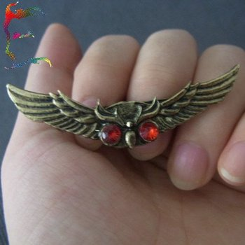 Wholesale fashion retro bronze flying Owl eagle Red eyes finger double ring 24pcs/Lot casual bird animal ring jewelry