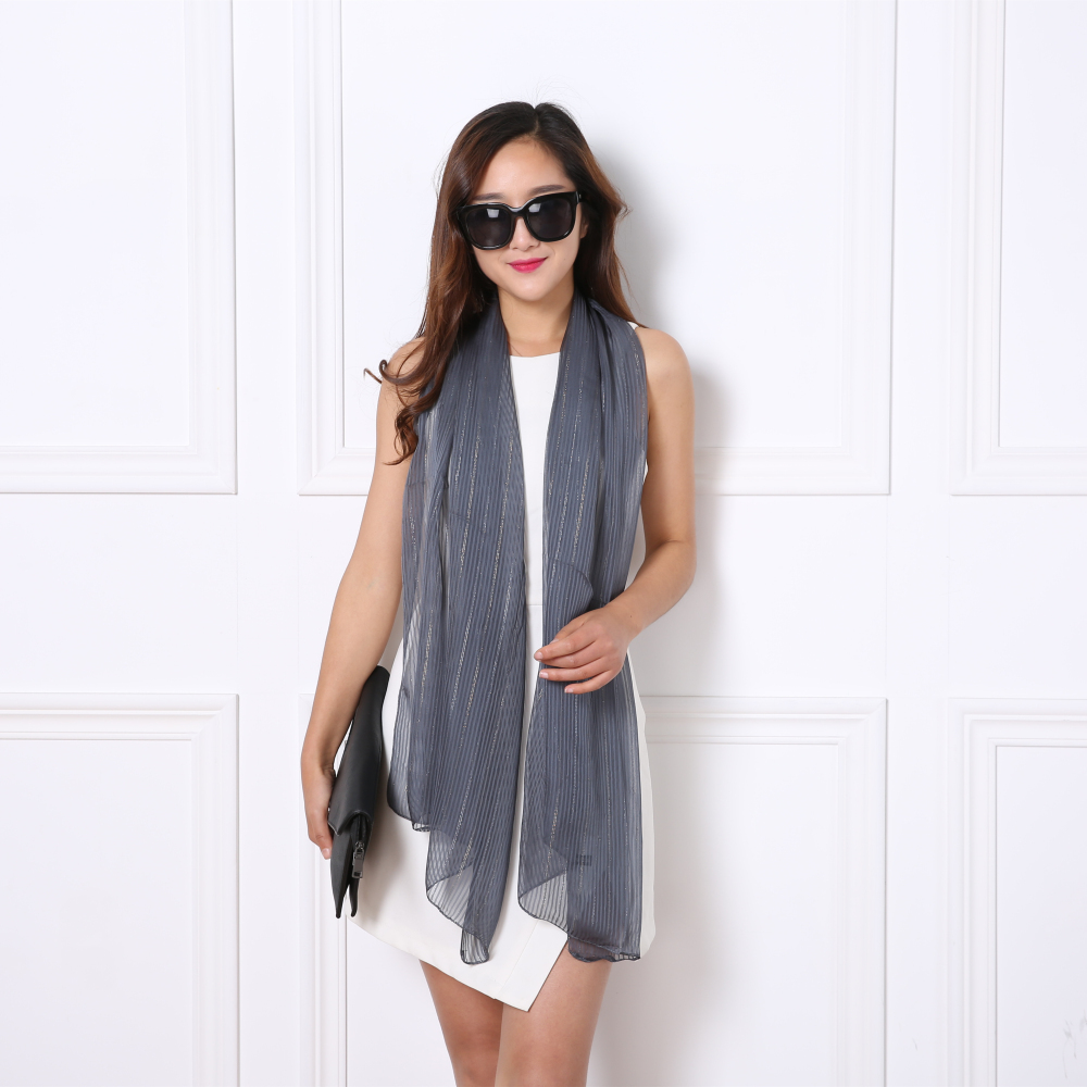 The new spring and summer fashion solid silver dyed chiffon scarf 160 * 57 digital ultra silky shawl cheap promotional gifts(China (Mainland))