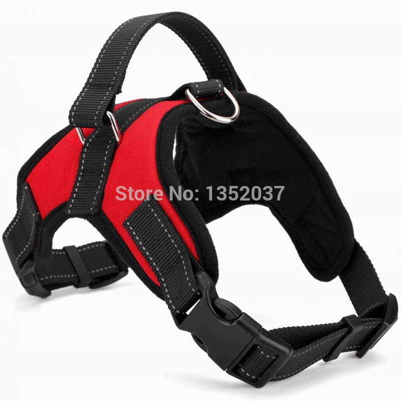 Free shipping Service dog harness for walking reflective strap pitbull vest padded pet harness to collar leash dog clothes Red(China (Mainland))