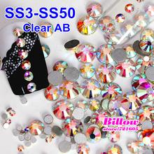 SS3-SS50 1440pcs Nail Art Rhinestone Crystal AB Glass Non Hot Fix Flat Back Rhinestones for Nails Phone DIY Decoration B2009(China (Mainland))