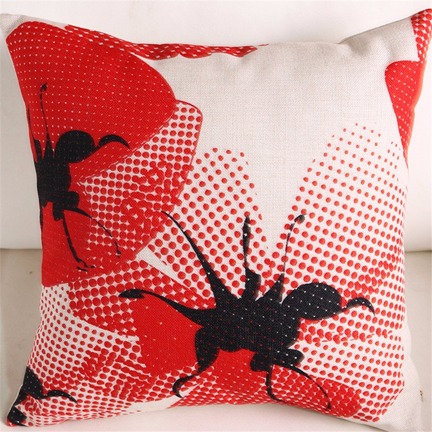 Personality Creative Red Flowers Pillow Case Linen Cushion Cover Car Sofa Seat Waist Home Decor 45*45cm