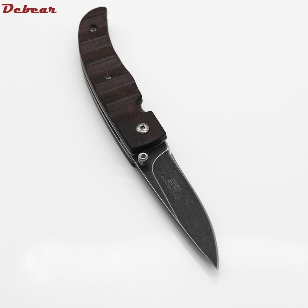 Buy Dcbear Brand Hunting Folding Knife 3CR13 Blade With Stone Wash Camping Pocket Survival Knife Tactical Knives EDC Tool Gift cheap