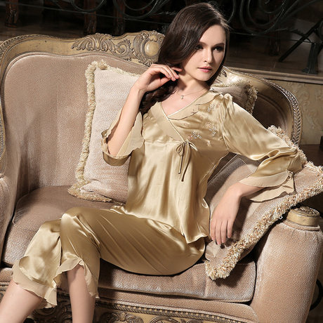 Free shipping Special offer Chinese Pure Silk satin sleepwear women pajama set 100 mulberry silk sleep lounge Under wear women(China (Mainland))