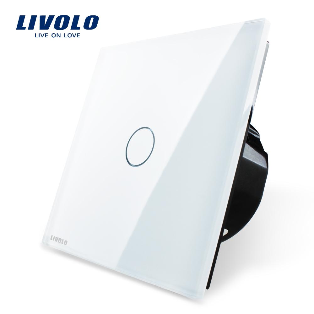 Free Shipping, Livolo Luxury White Crystal Glass Switch Panel, EU Standard, VL-C701-11,220~250V Touch Screen Wall Light Switch(China (Mainland))