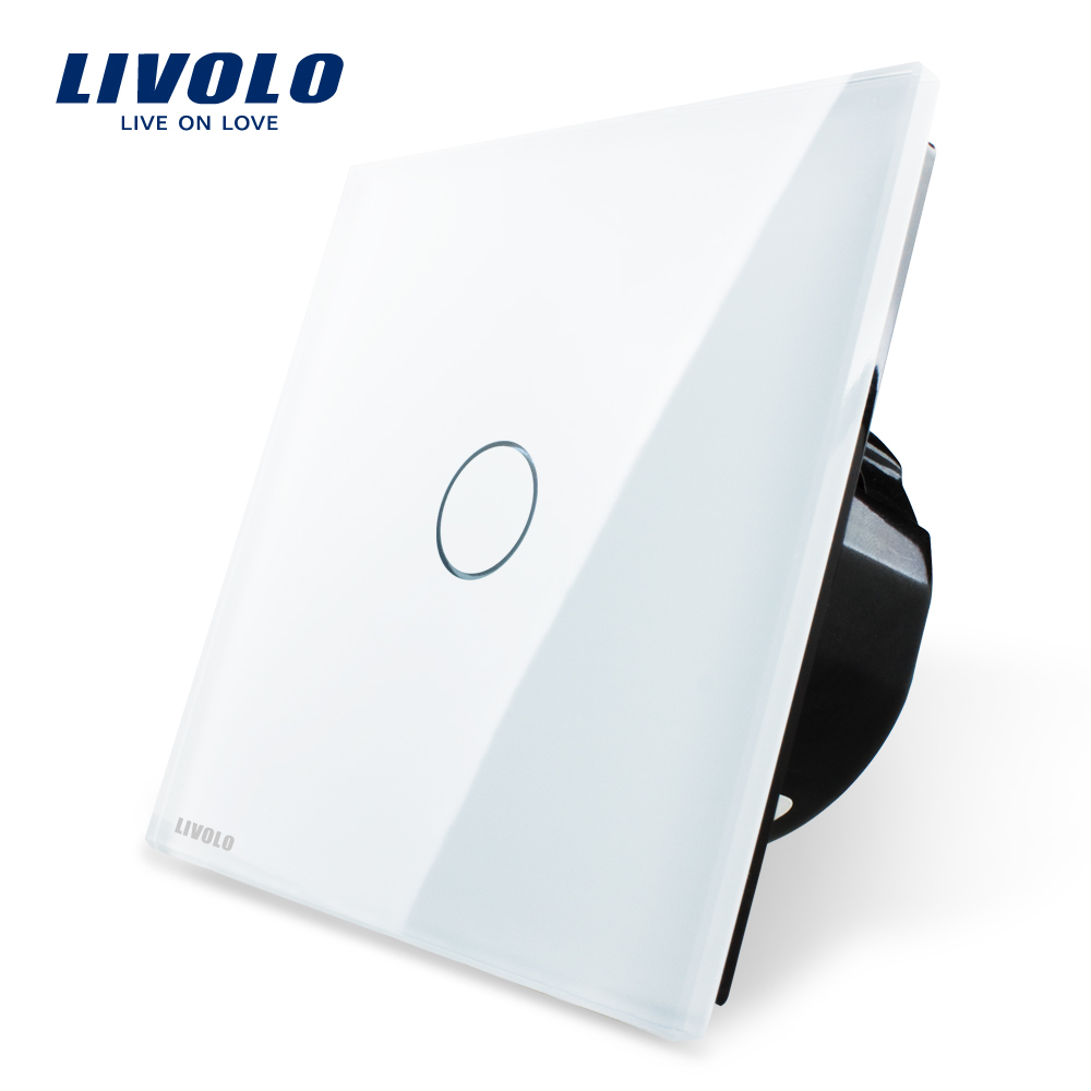Гаджет  Free Shipping, Livolo Luxury White Crystal Glass Switch Panel, EU Standard, VL-C701-11,110~250V Touch Screen Wall Light Switch None Свет и освещение