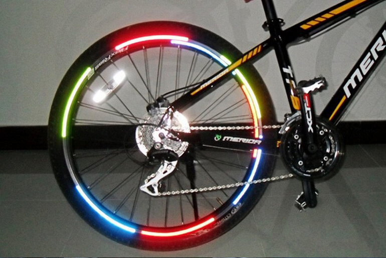 Bicycle reflector Fluorescent MTB Bike Bicycle Sticker Cycling Wheel Rim Reflective Stickers Decal Accessories BRS2001(China (Mainland))