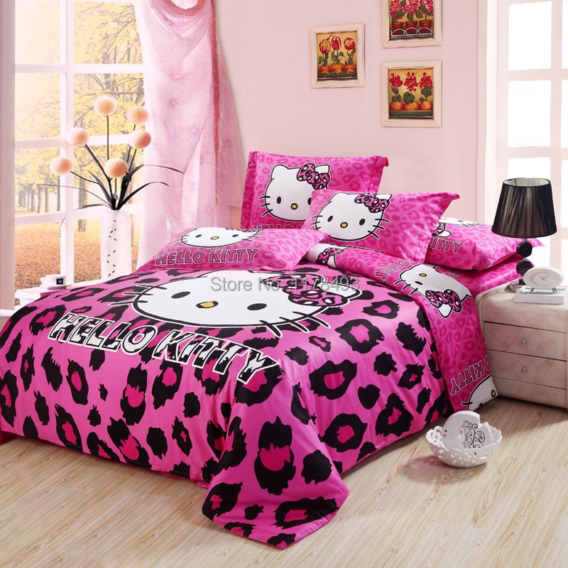 2015 new fashion kitty bedding sets 4pcs cotton bedclothes twin full queen size hot sale red. Black Bedroom Furniture Sets. Home Design Ideas