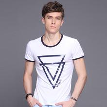 2015 New arrival European summer brand fashion mens O neck 100% cotton t-shirt printed casual short sleeve tee shirts tops