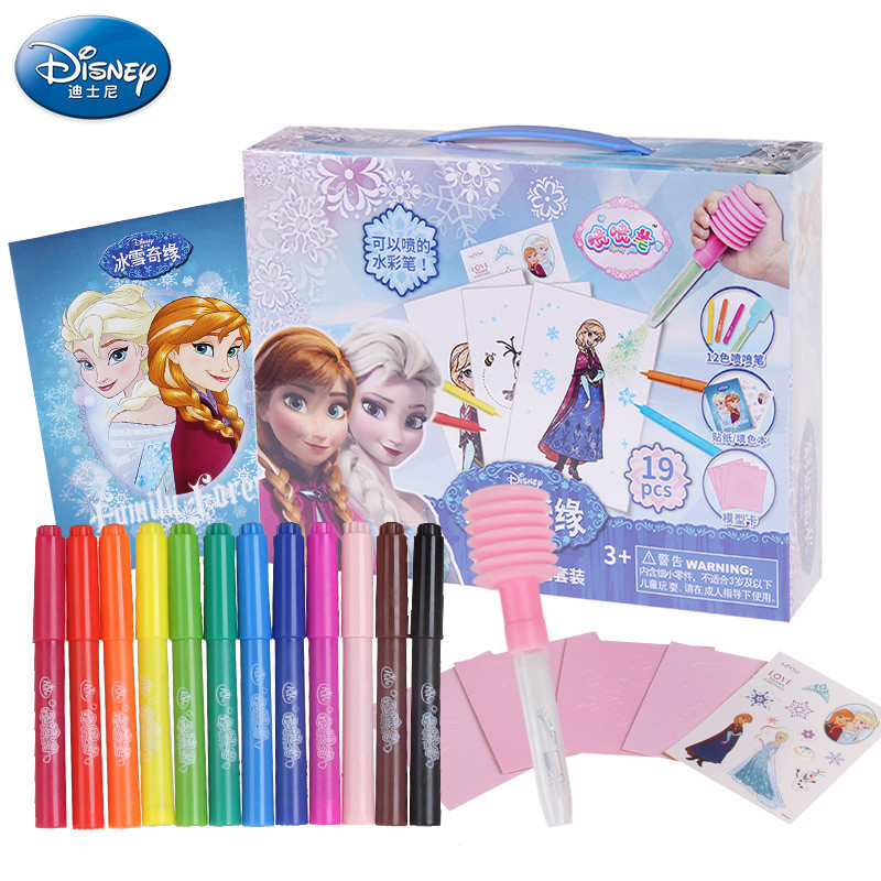 2016 New Arrival Anna Elsa 12 Can Spray Watercolor Magic Novelty Pen Drawing Painting Writing Educational Kids Doodle Toys Gift(China (Mainland))