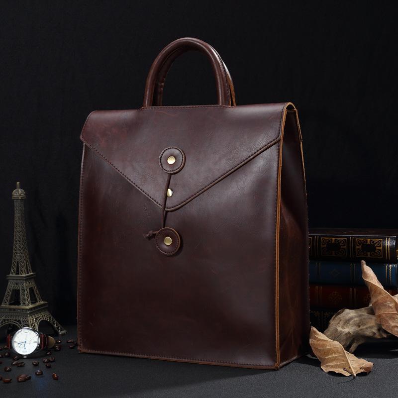 Men's Crazyhorse Leather High and Business Briefcase Messenger Laptop Case Attache Bag Brown Attache Portfolio Tote Bag(China (Mainland))